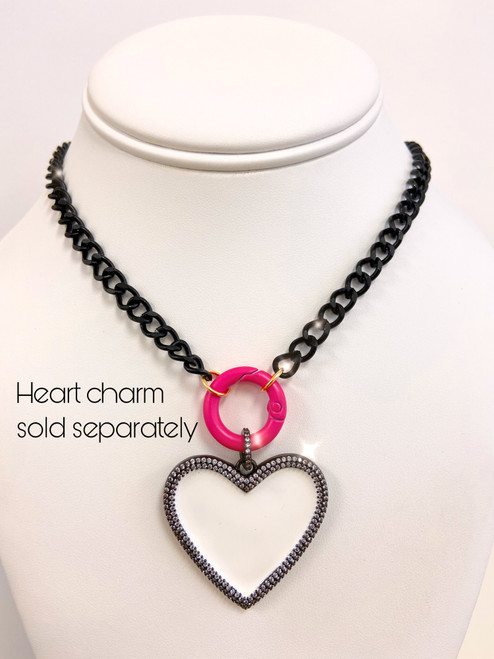 Black chain with pink circle clasp and heart pendant