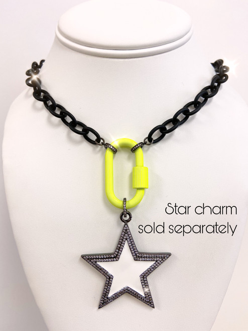 Black chain with neon yellow carabiner and star pendant