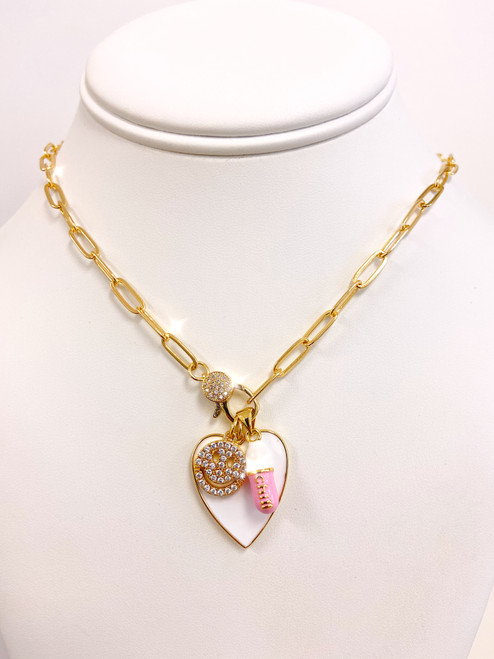 Gold paperclip chain charm necklace