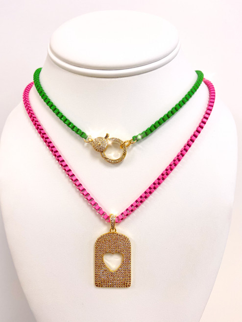 Hot pink box chain with cutout heart dog tag