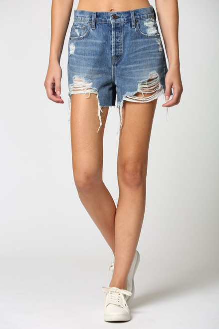 Dark wash high rise denim shorts with multicolor threads showing though distressing