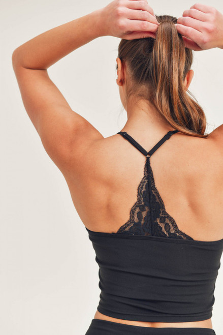 Black workout cami with lace racerback