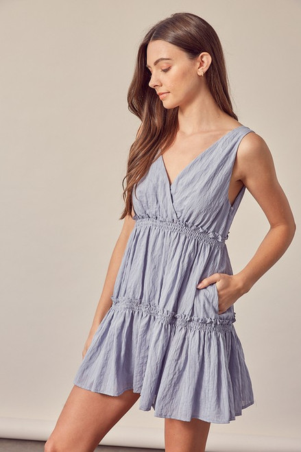 Chambray blue tiered dress with pocket