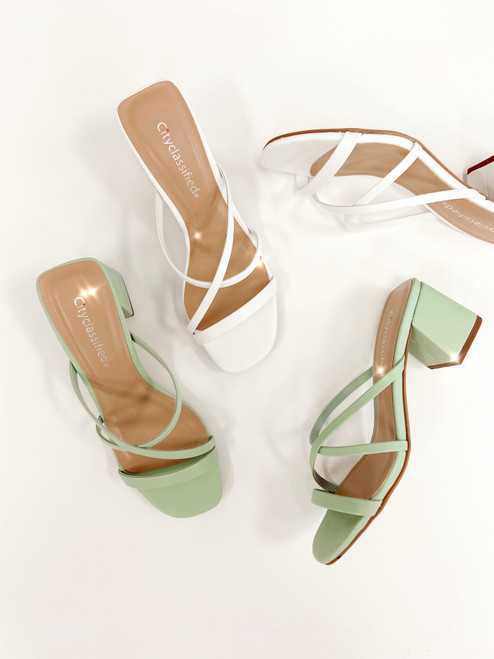 Mint green and white strappy sandal