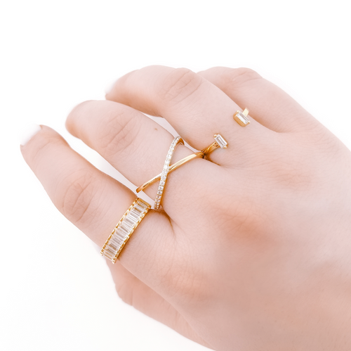 Adjustable ring with criss cross design and pave details