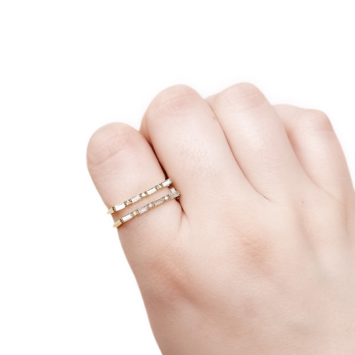 Double line pave ring adjustable