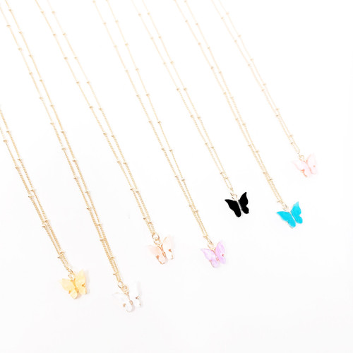 Colorful butterfly pendant necklace on gold chain