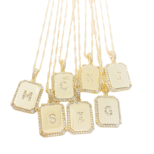 Initial name plate necklace