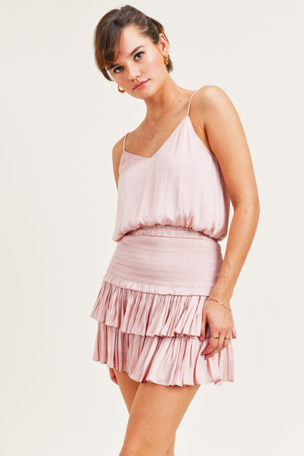 Blush pink lined camisole with adjustable straps