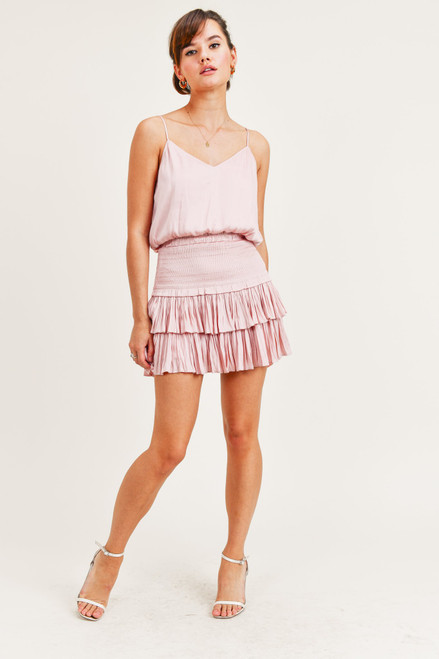 Blush pink ruffle hem skirt with smocked waist