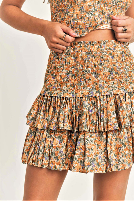 Yellow floral print skirt with ruffle hem and smocked waist