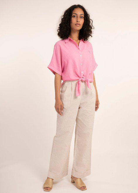 Hot pink tie front button up blouse