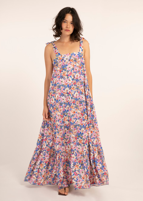 Floral print maxi dress with self tie straps