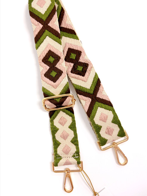 Blush pink, olive and cream aztec print purse strap with gold hardware