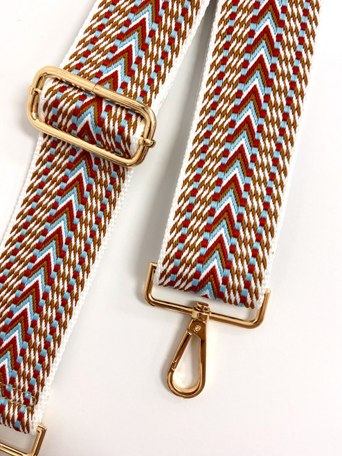 Burgundy, powder blue and camel purse strap with gold hardware