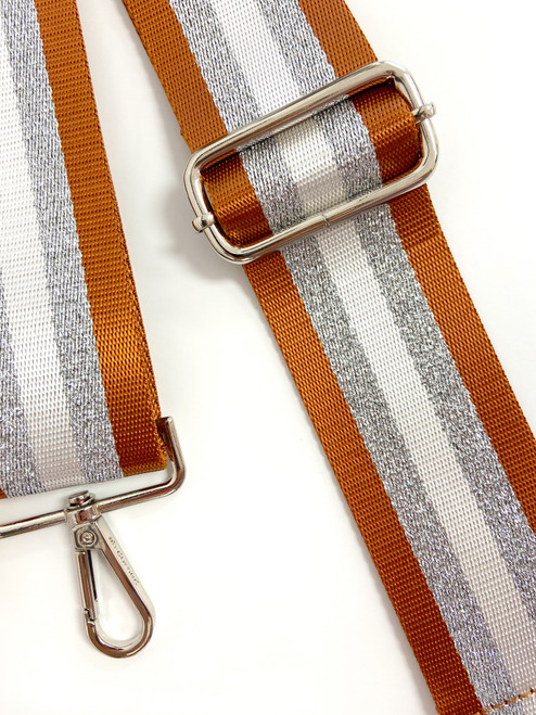 Camel and silver stripe purse strap with silver hardware