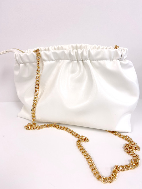White vegan patent leather clutch with removable gold chain