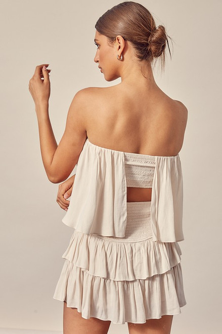 Off white strapless dress with open back