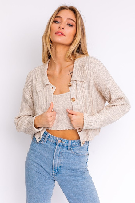Tan rib knit cardigan with collar and button down