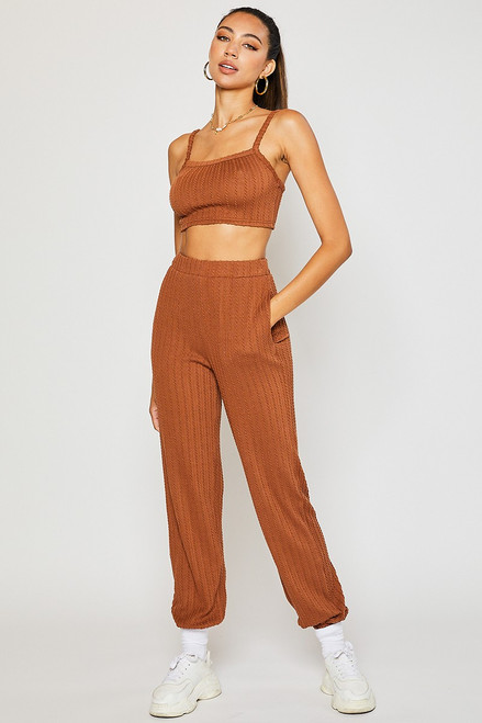 Mocha textured knit jogger with matching camisole top