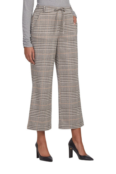 Pull on ankle length plaid pants with wide leg