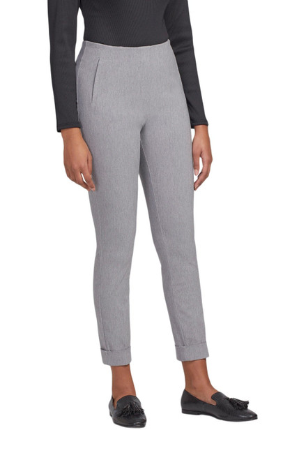 Light charcoal grey highwaist pull on cigarette pant with cuff
