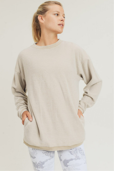 Fuzzy crew neck pullover with pockets