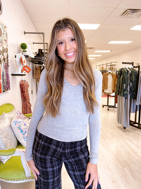 Heather grey double lined long sleeve cropped top