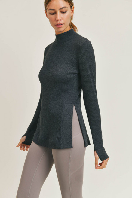 Charcoal grey waffle knit top with side slit and mock neck