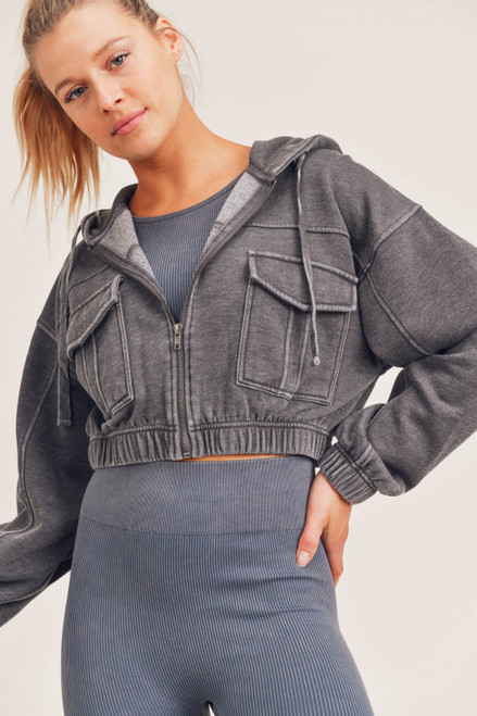 Charcoal grey cropped hooded zip up jacket