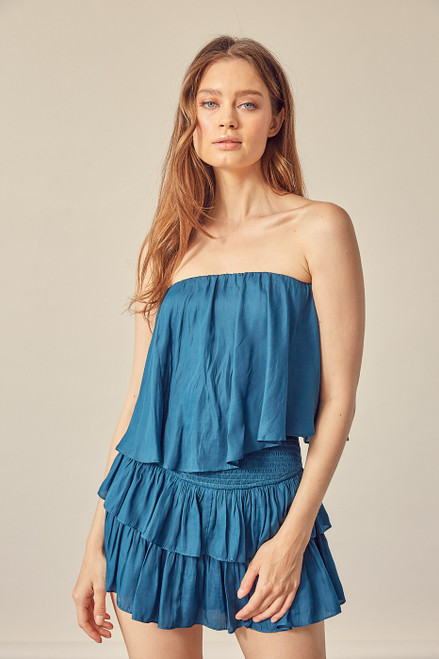 Teal blue ruffle dress with short lining and open back