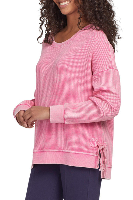 Hot pink waffle knit long sleeve top with side tie detail