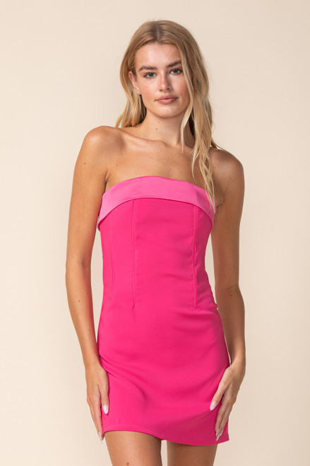 Hot pink strapless dress with boning structure