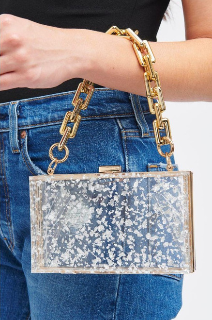 Clear clutch bag with short and long strap