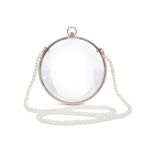 Round clear bag with pearl strap
