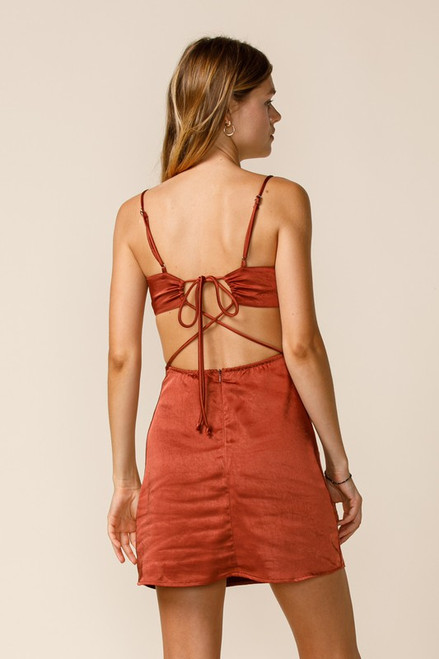 Rust red dress with side cutout and open back