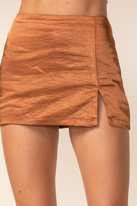 Copper color skirt with side slit and short lining