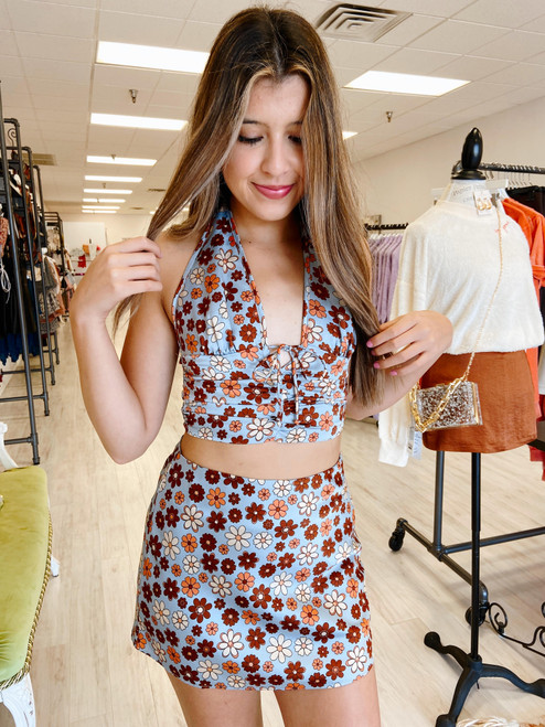 Blue and brown floral print skirt with matching top