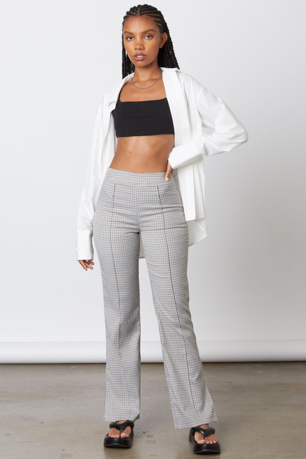 Grey checkered pant with side slit