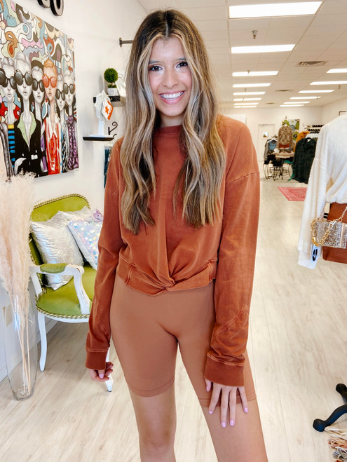 Copper cropped pullover with twist detail