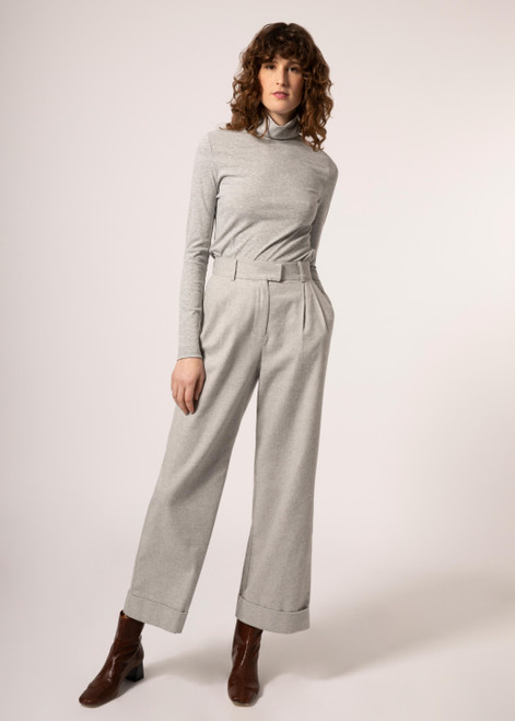 Light grey wide leg pant with oversized cuff