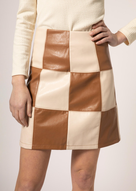 Faux leather patchwork skirt