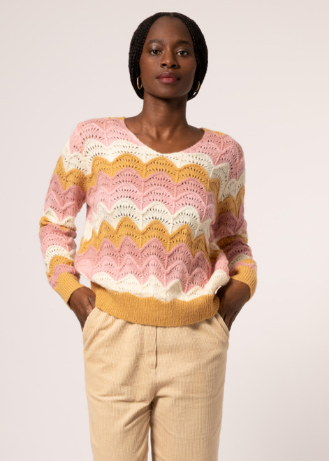 Pink and yellow crochet sweater