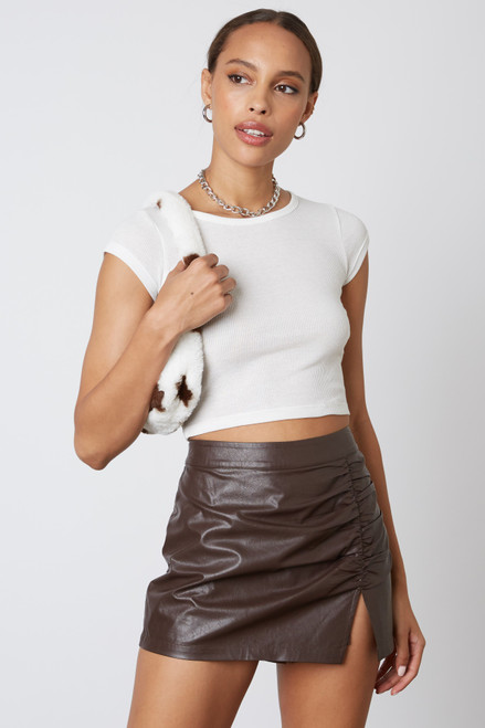 Chocolate brown faux leather skort