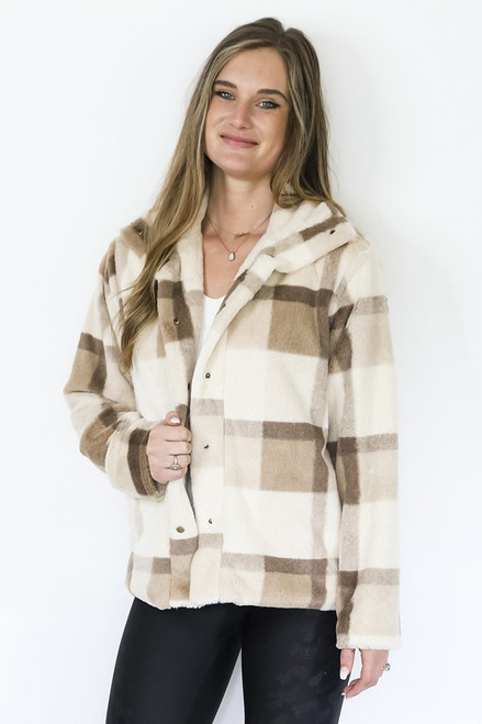 Lined taupe flannel furry jacket