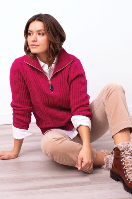 Hot pink cable knit sweater with zipper