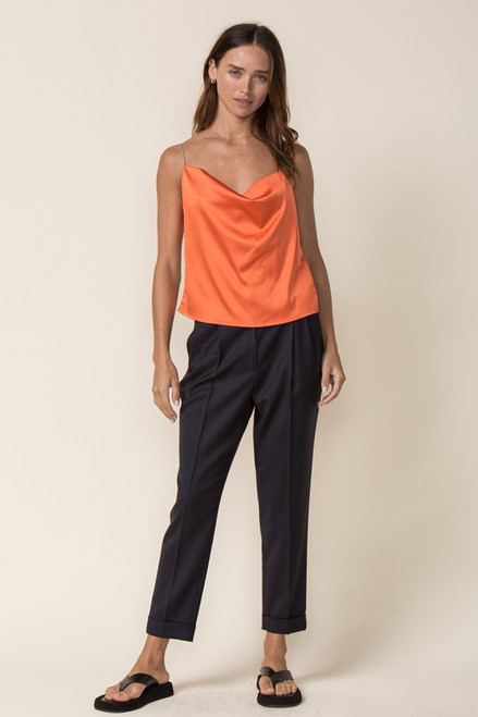 Orange top with open back and chain straps