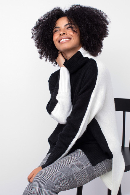 Black and white colorblock tunic mock neck sweater