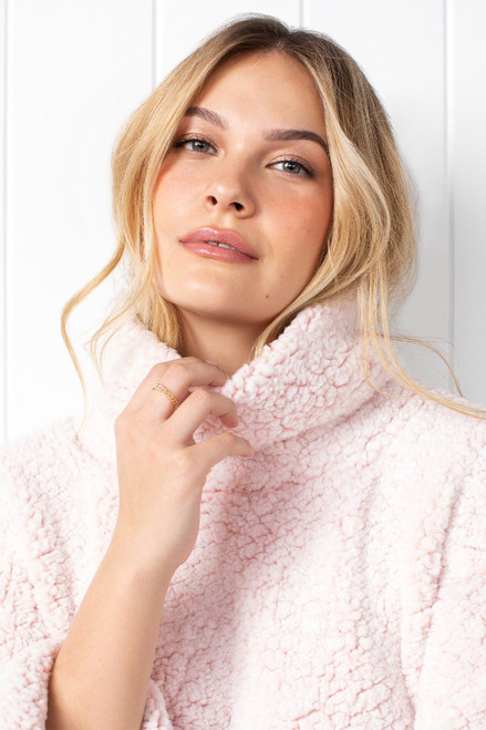 Oversized blush pink sherpa pullover with pockets