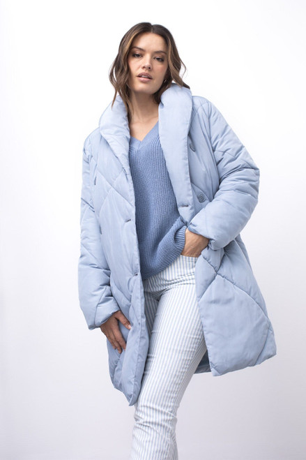 Baby blue puffer coat with shawl collar